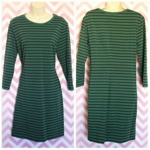 Old Navy Green Striped Fitted Dress Size L